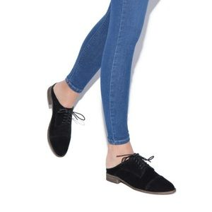 Worn once. Black faux suede open back Oxfords.